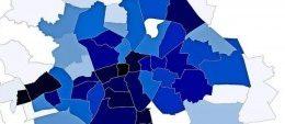 Auf der Karte wird die Entwicklung der Mietpreise nach Ortsteilen aufgeschl?sselt. Quelle: LVZ